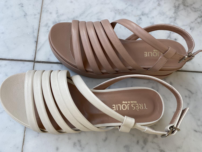 tres jolie / sleehak sandaal nude leder