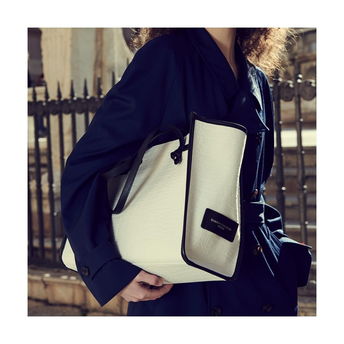 Gianni chiarini / shopper bag beige/zwart