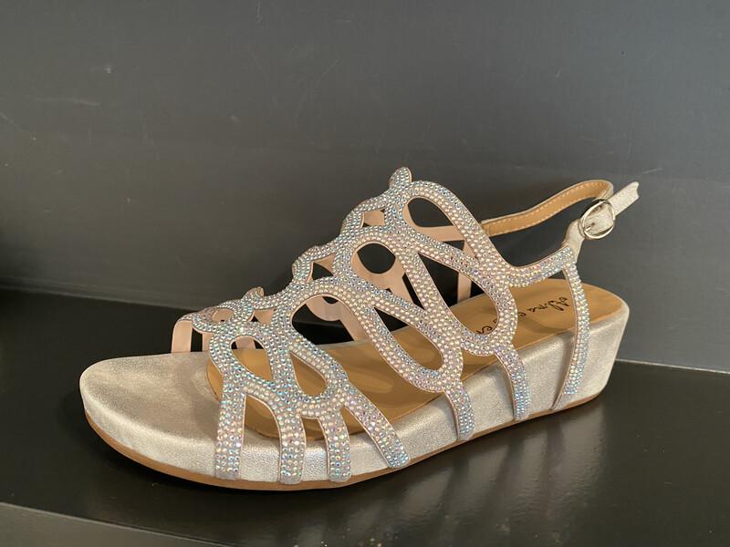 Alma en pena / sandaal met voetbed glitters zilver