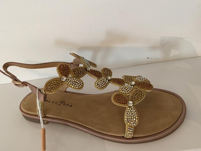 Alma en pena/ platte sandaal met bloemetjes beige-geel