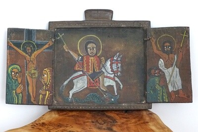 Ethiopian Wooden Icon| St. George| Christ On Crucifixion| The Virgin Mary