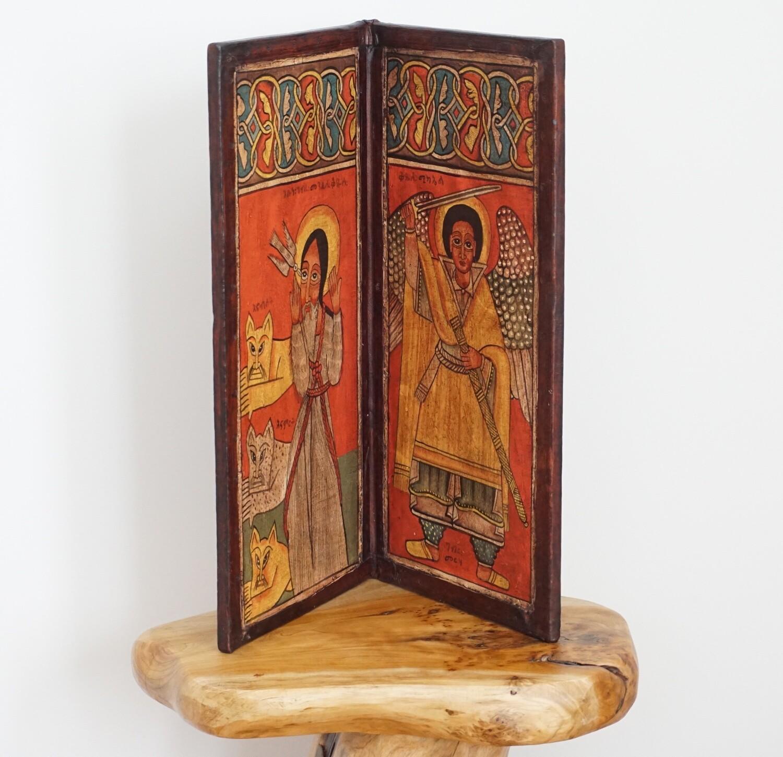 Ethiopian Vintage Christian Coptic Icon  Religious Art Orthodox  Handmade Made Of Wood Leather