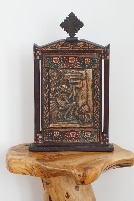 Large Ethiopian Coptic Orthodox Icon  Saint George, The Virgin Mary  Christianity Storyteller
