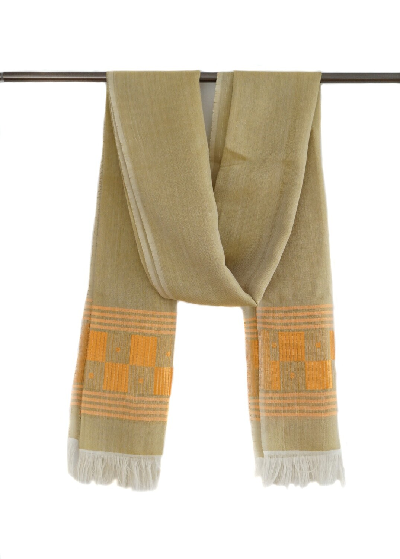 Long Handmade Women Golden Beige Shawl, Wrap, Scarf Made Of Cotton & Rayon