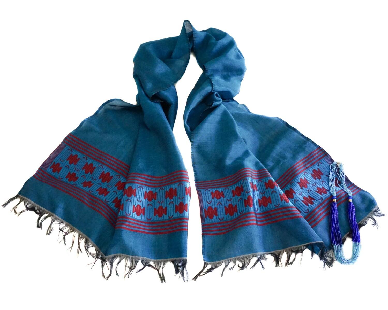Women Oversized Aquamarine Scarf, Wrap Shawl| Hand-Woven 80% Cotton 20% Rayon