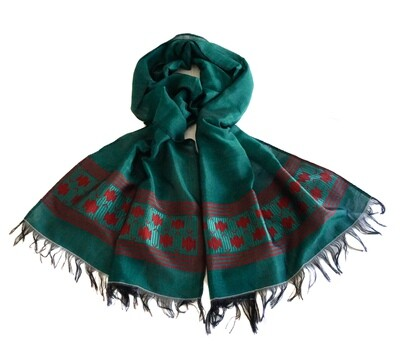 Women Oversized Emerald Green Scarf, Wrap Shawl| Hand-Woven 80% Cotton 20% Rayon