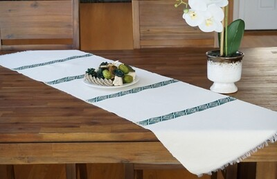 Decorative Handmade Table Runner| Emerald Green On Ivory Cream| Blend Of Cotton Acrylic