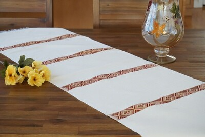 Decorative Handmade Table Runner| Red On Ivory Cream| Blend Of Cotton Acrylic
