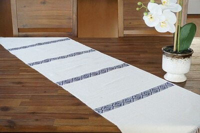 Decorative Handmade Table Runner| Navy Blue On Ivory Cream| Blend Of Cotton Acrylic