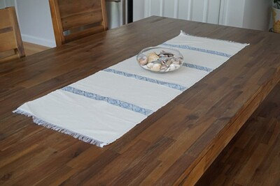 Decorative Handmade Table Runner| Light Blue On Ivory Cream| Blend Of Cotton Acrylic