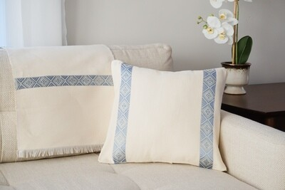 Accent Sofa Throw Pillow| Light Blue On Cream Colored| Handwoven| Blend Of Cotton Acrylic