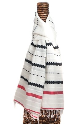 Handmade Multi-Colored Striped Shawl| Oversized Scarf Blend Of Cotton Wool Rayon