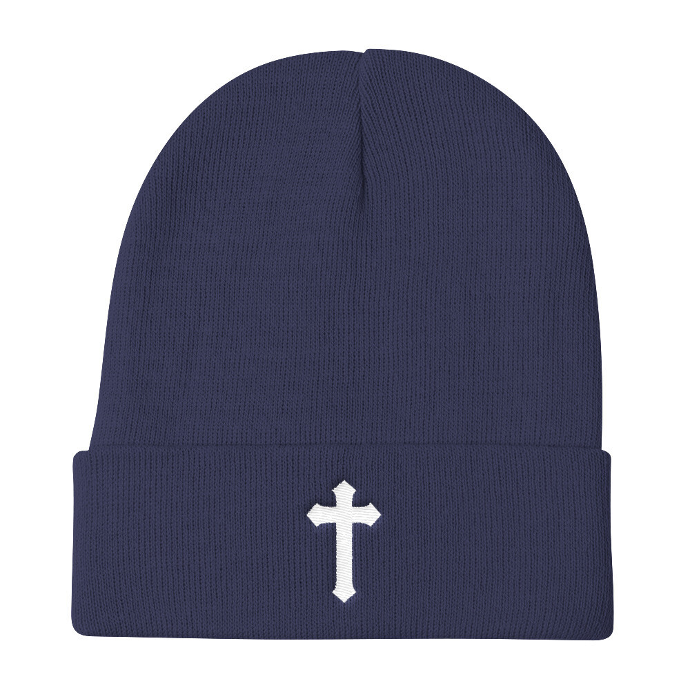 Embroidered Cross Beanie