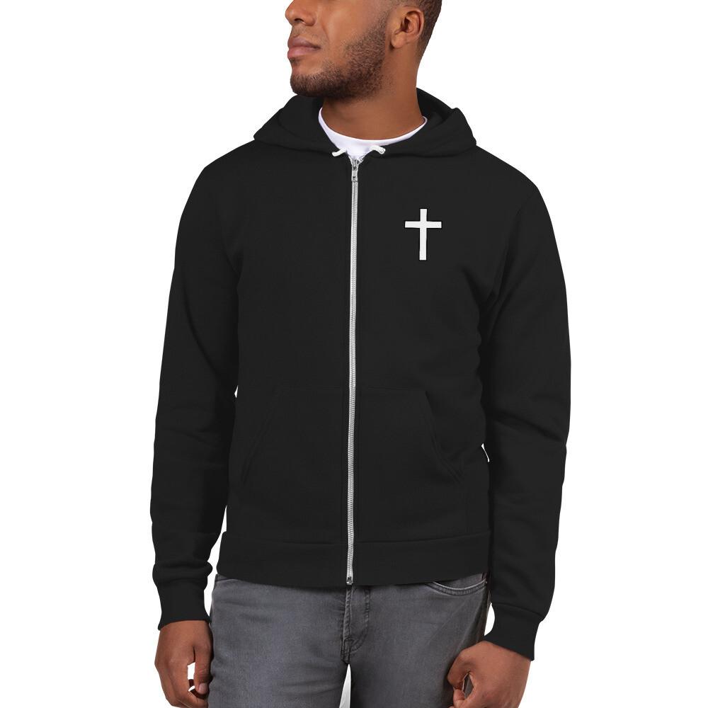 Hoodie zip up sweater with cross