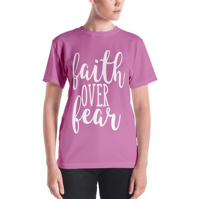 Faith Over Fear All Over Print Pink Women's T-shirt