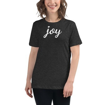 Women's Relaxed T-Shirt with joy printed on front