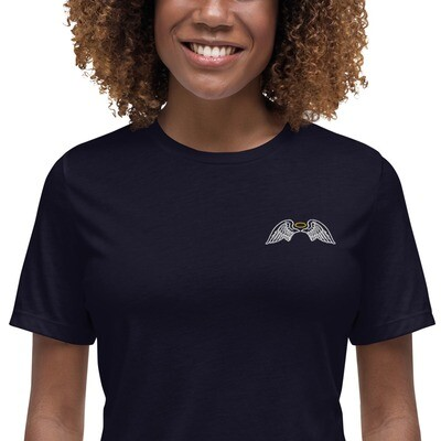 Women's Embroidered Angel wings Relaxed T-Shirt