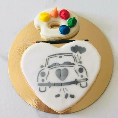 Biscuit à colorier spécial mariage voiture