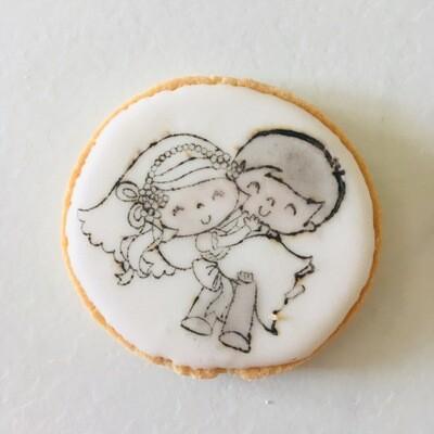Lot de 5 biscuit thème mariage format café
