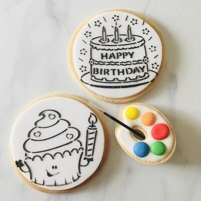 Pack anniversaire de 2 biscuits à colorier