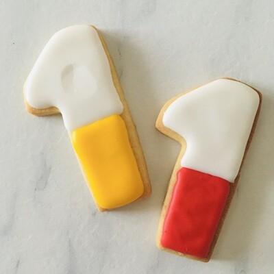 Lot de 6 biscuits chiffre bi-color