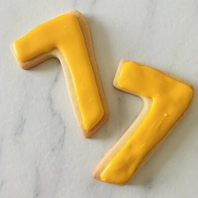 Lot de 6 biscuits chiffre couleur unie