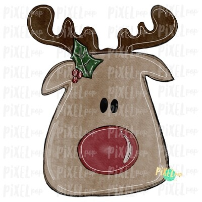 Reindeer Watercolor Sublimation Design PNG   Reindeer Art   Hand Drawn Design   Sublimation PNG   Digital Download   Printable Artwork   Art