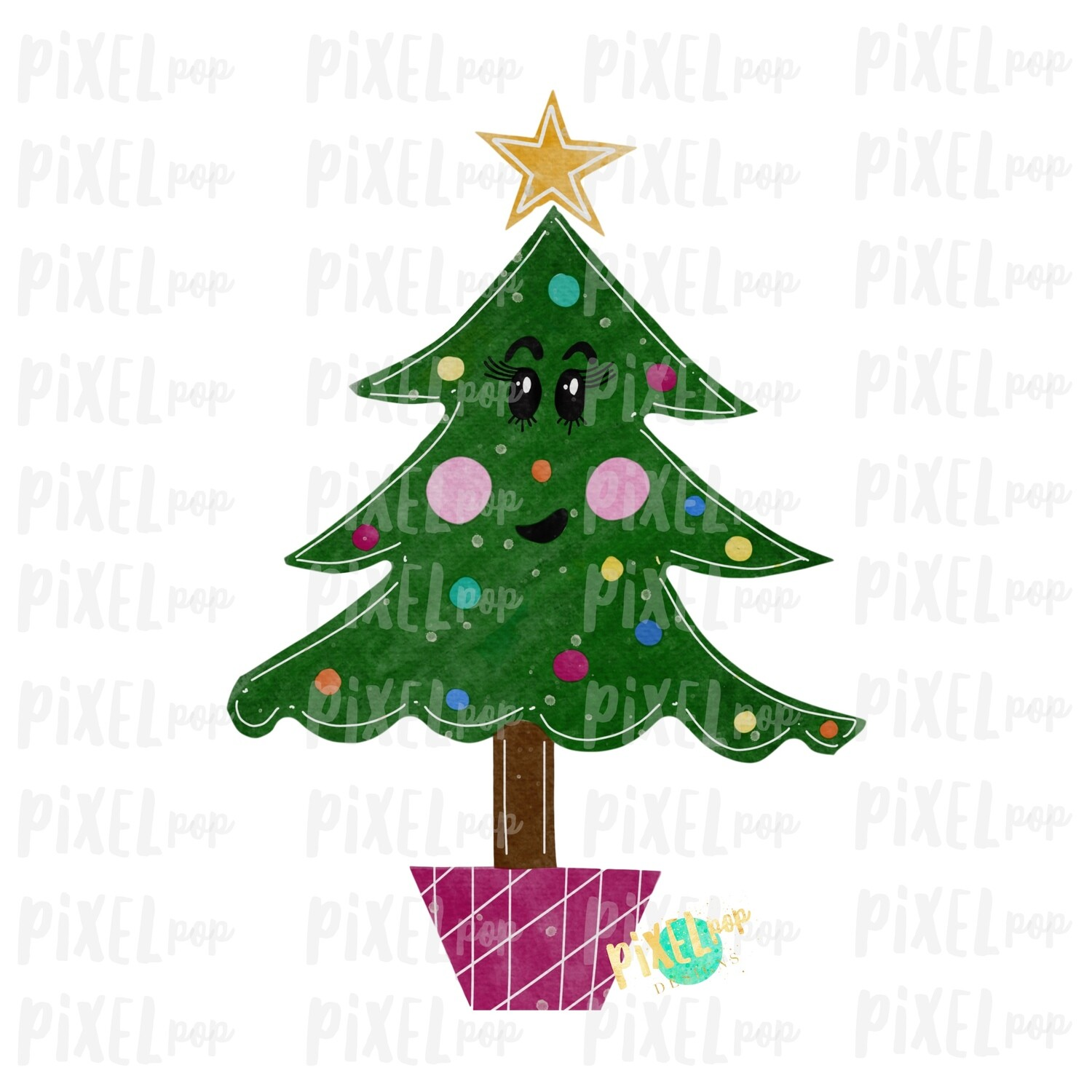 Sassy Cartoon Christmas Tree Watercolor Sublimation PNG | Hand Drawn Design | Sublimation PNG | Digital Download | Printable Artwork | Art