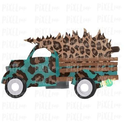 Christmas Truck Leopard Sublimation PNG   Hand Drawn Design   Sublimation PNG   Digital Download   Printable Artwork   Art