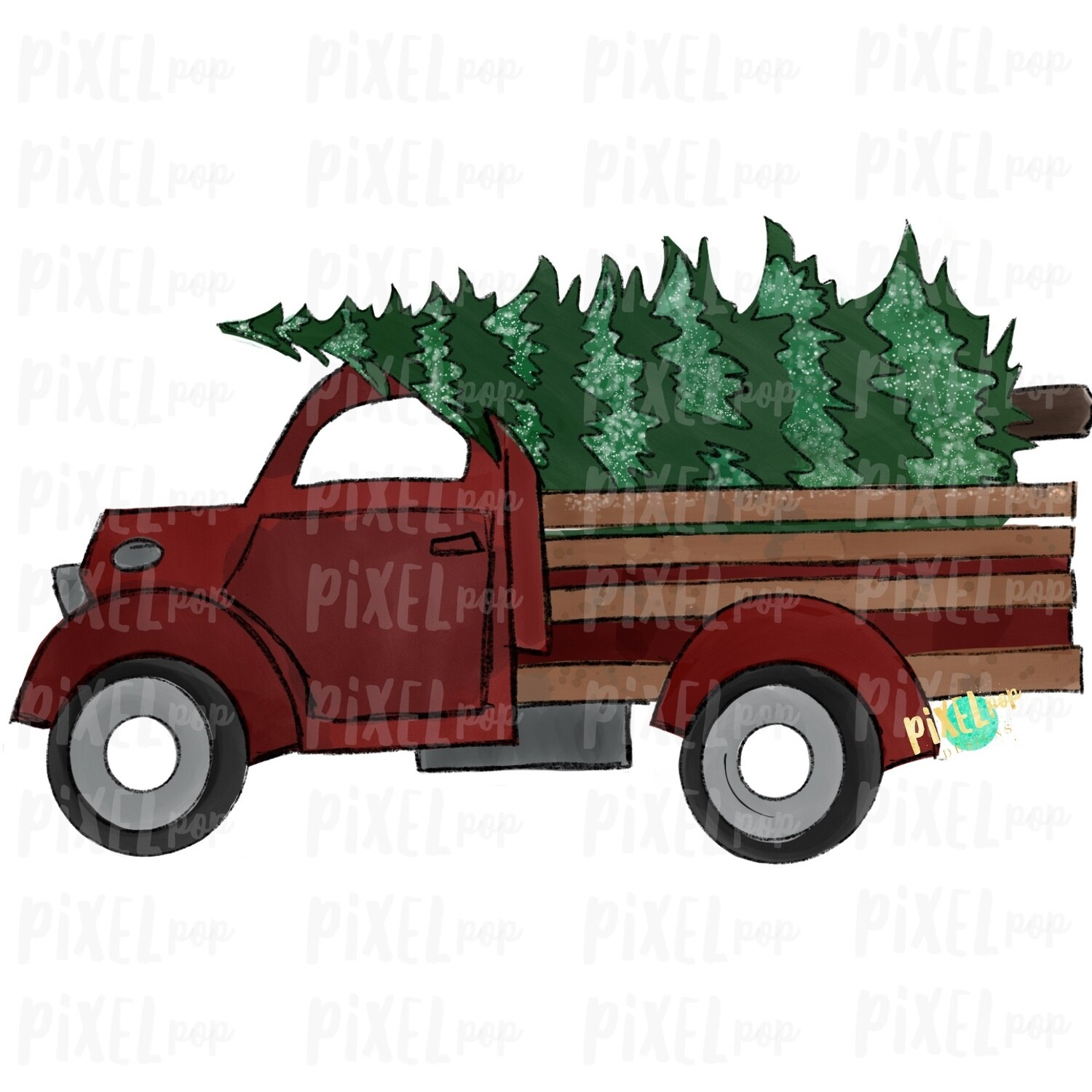 Christmas Tree Farm Truck Red Sublimation PNG | Hand Drawn Art | Sublimation PNG | Digital Download | Printable Artwork | A