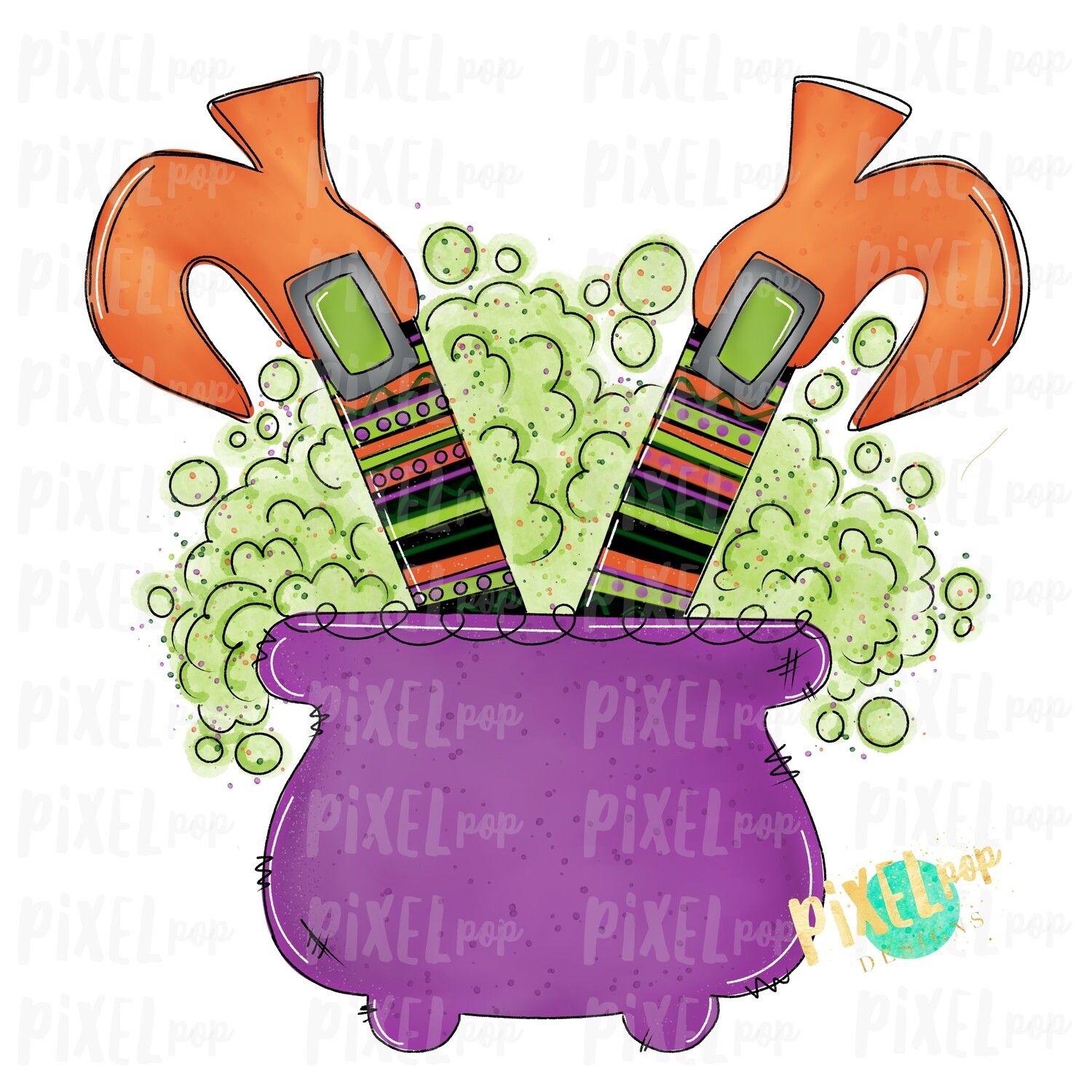Cauldron Witch Feet Halloween Sublimation PNG | Hand Drawn Sublimation Design | Sublimation PNG | Digital Download | Printable Artwork | Art