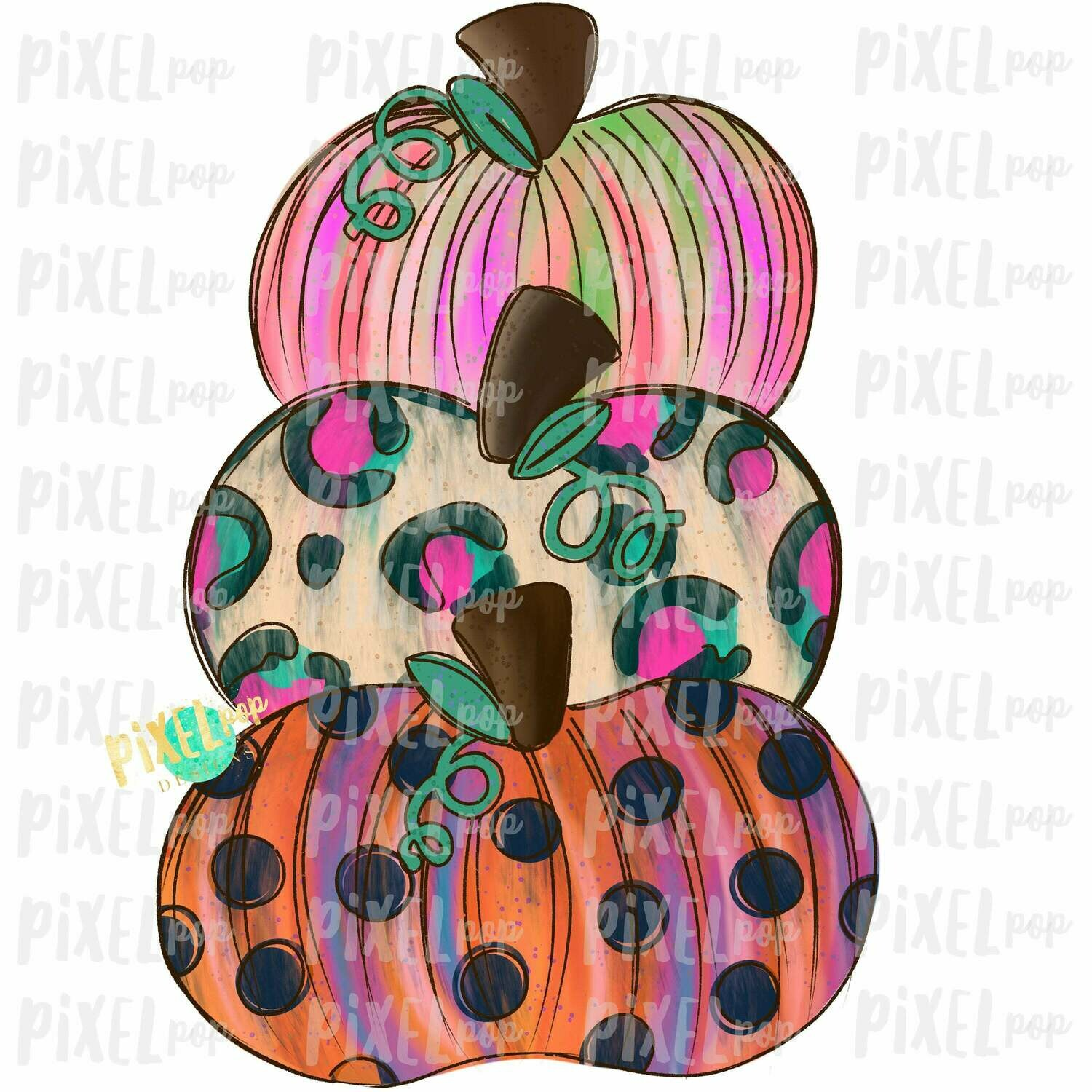 Funky Stacked Pumpkins Navy Sublimation Design | Hand Drawn Design | Sublimation PNG | Digital Download | Printable Artwork | Art