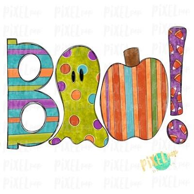 Boo! Decorative Halloween Sublimation PNG   Hand Drawn Sublimation Design   Sublimation PNG   Digital Download   Printable Artwork   Art
