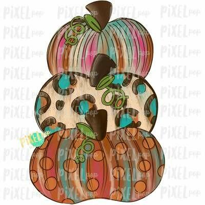 Funky Stacked Pumpkins Pink Sublimation Design | Hand Drawn Design | Sublimation PNG | Digital Download | Printable Artwork | Art