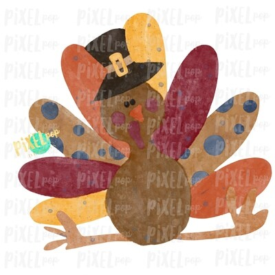 Happy Turkey Watercolor Sublimation PNG | Hand Drawn Sublimation Design | Sublimation PNG | Digital Download | Printable Artwork | Art