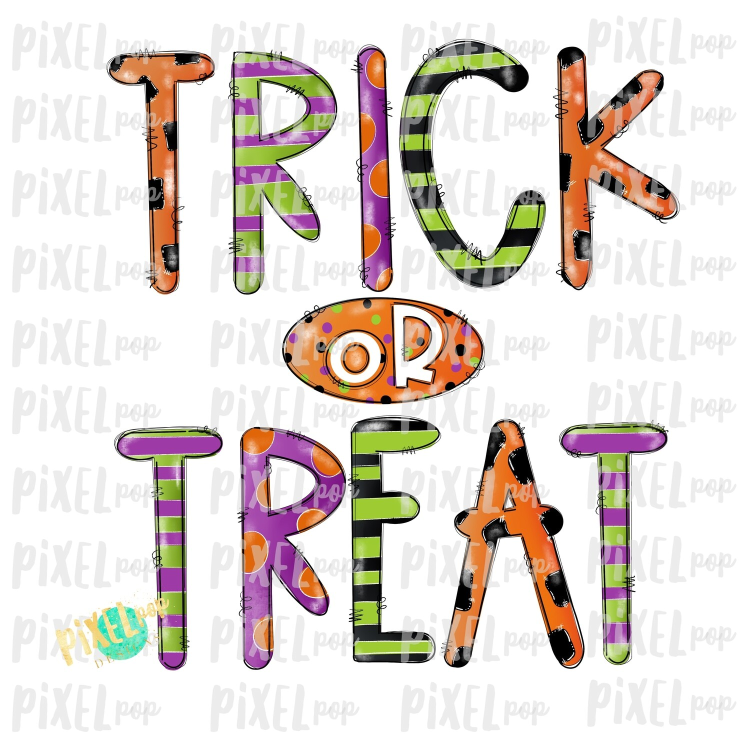 Distressed Trick or Treat Halloween Sublimation PNG | Hand Drawn Art Design | Sublimation PNG | Digital Download | Printable Artwork | Art