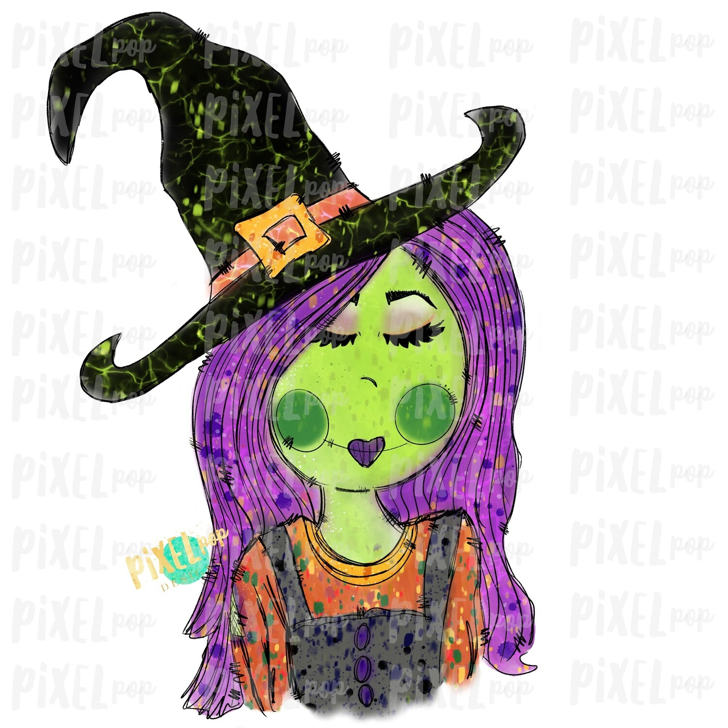 Sketchy Witch Girl Halloween Sublimation PNG | Hand Drawn Painted Design | Sublimation PNG | Digital Download | Printable Artwork | Art