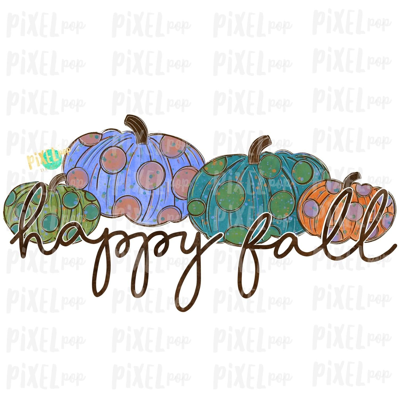 Happy Fall Polka Dot Pumpkins Art Sublimation PNG | Hand Drawn Sublimation Design | Sublimation | Digital Download | Printable Artwork | Art