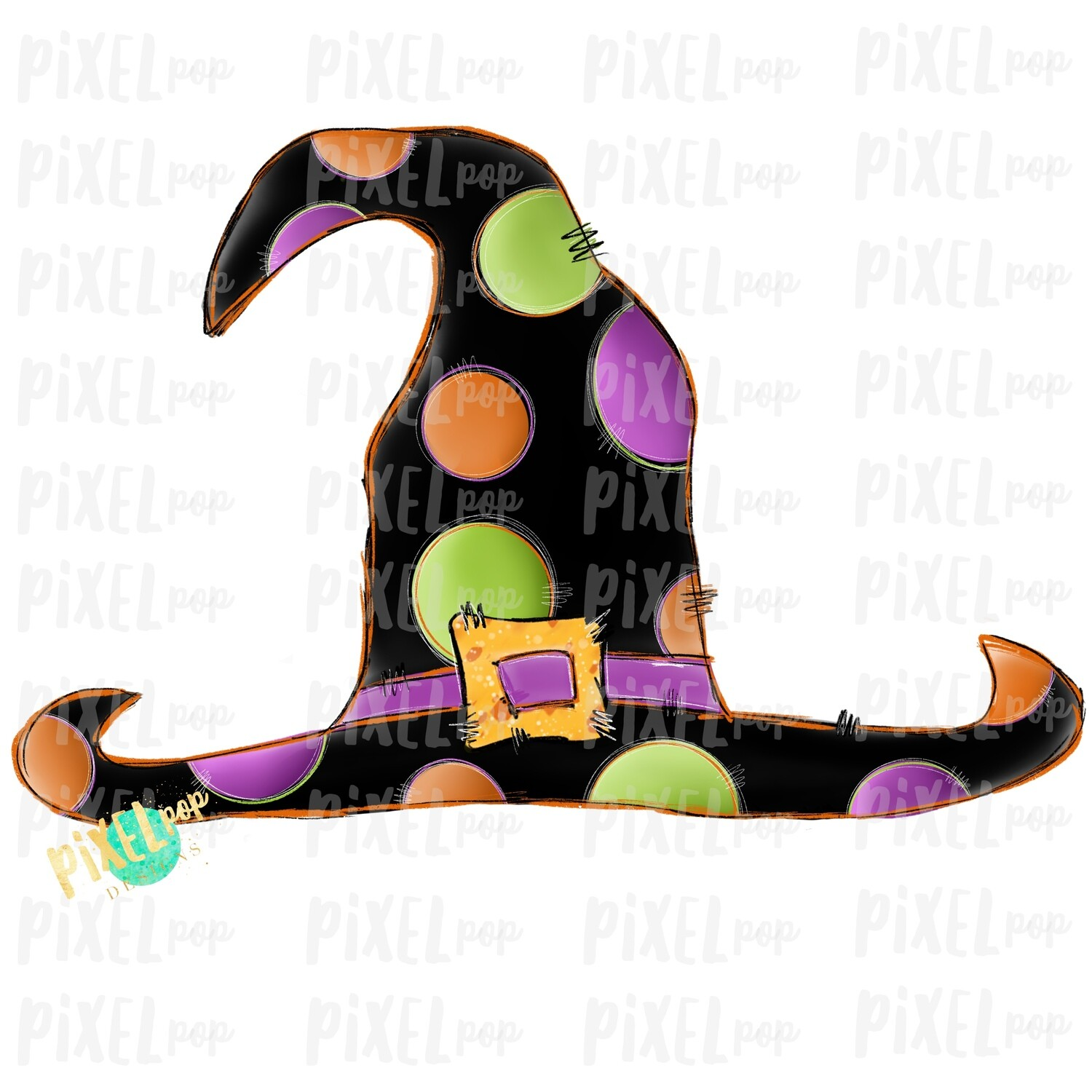Polka Dot Witch Hat Digital Halloween Sublimation PNG | Hand Drawn Painted Design | Sublimation PNG | Digital Download | Printable Artwork | Art