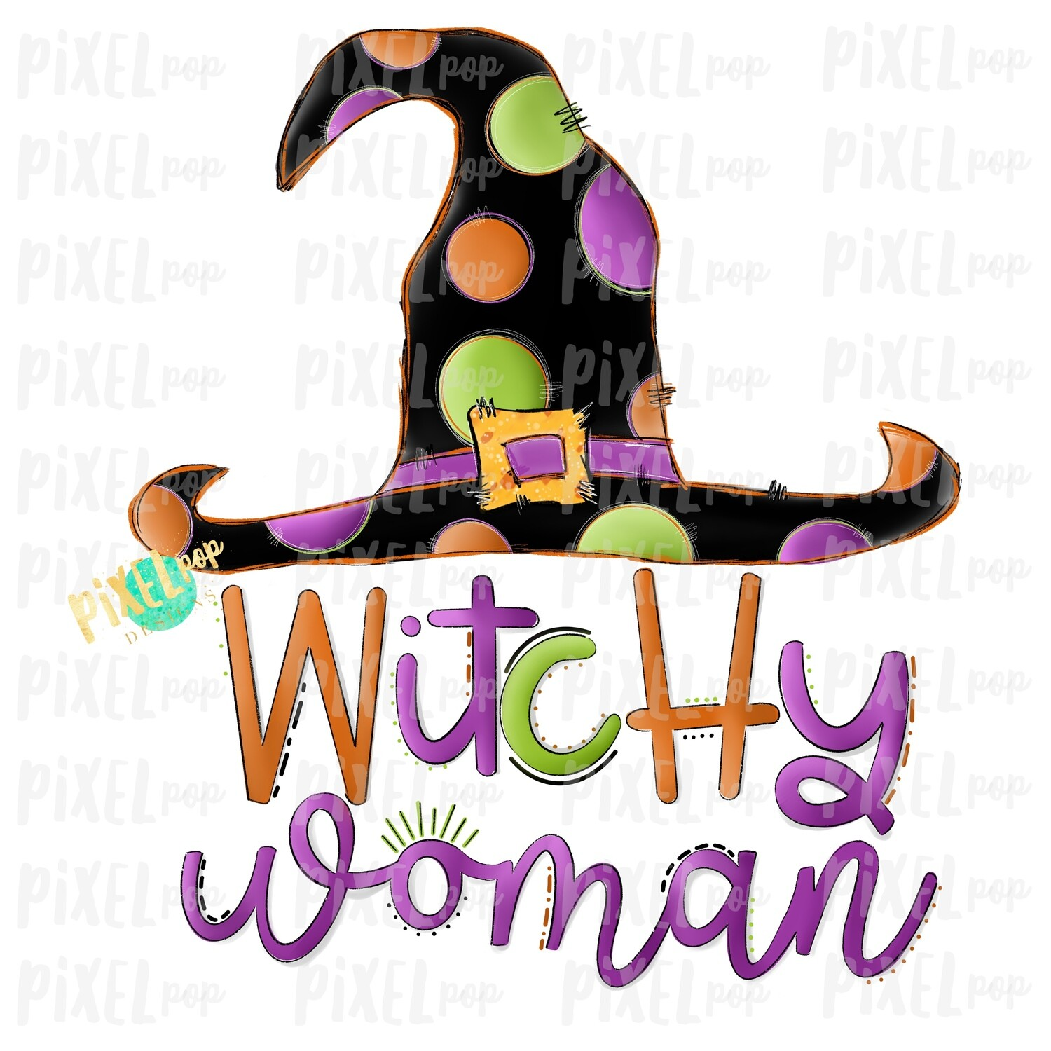 Witchy Woman Witch Hat Halloween Sublimation PNG | Hand Drawn Painted Design | Sublimation PNG | Digital Download | Printable Artwork | Art