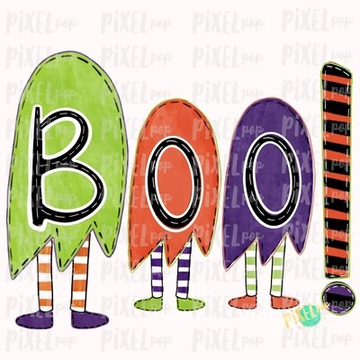 Boo! Ghosts Trio Halloween Sublimation PNG | Hand Drawn Sublimation Design | Sublimation PNG | Digital Download | Printable Artwork | Art