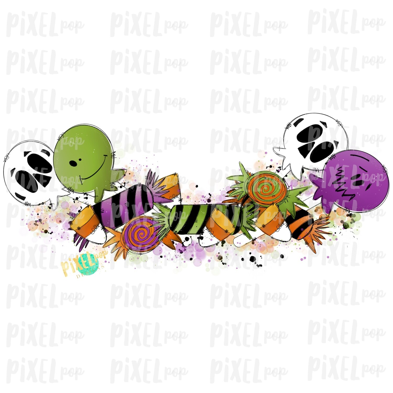 Spooky Halloween Candy Garland Embellishment Element Sublimation PNG | Hand Drawn Design | Sublimation | Digital Download | Printable | Art