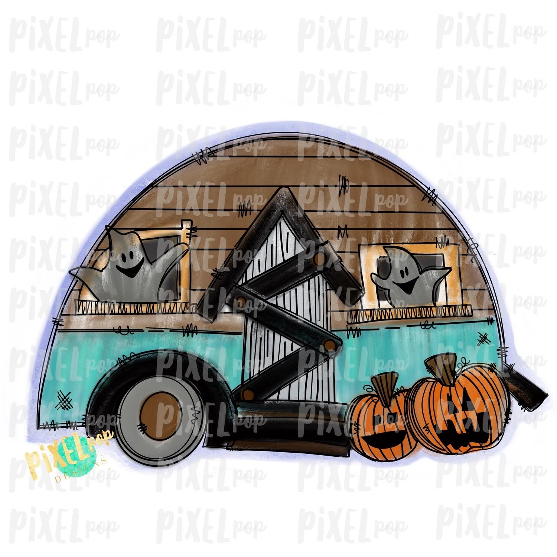 Haunted Ghost Camper Halloween Sublimation PNG | Hand Drawn Art Design | Sublimation PNG | Digital Download | Printable Artwork | Art
