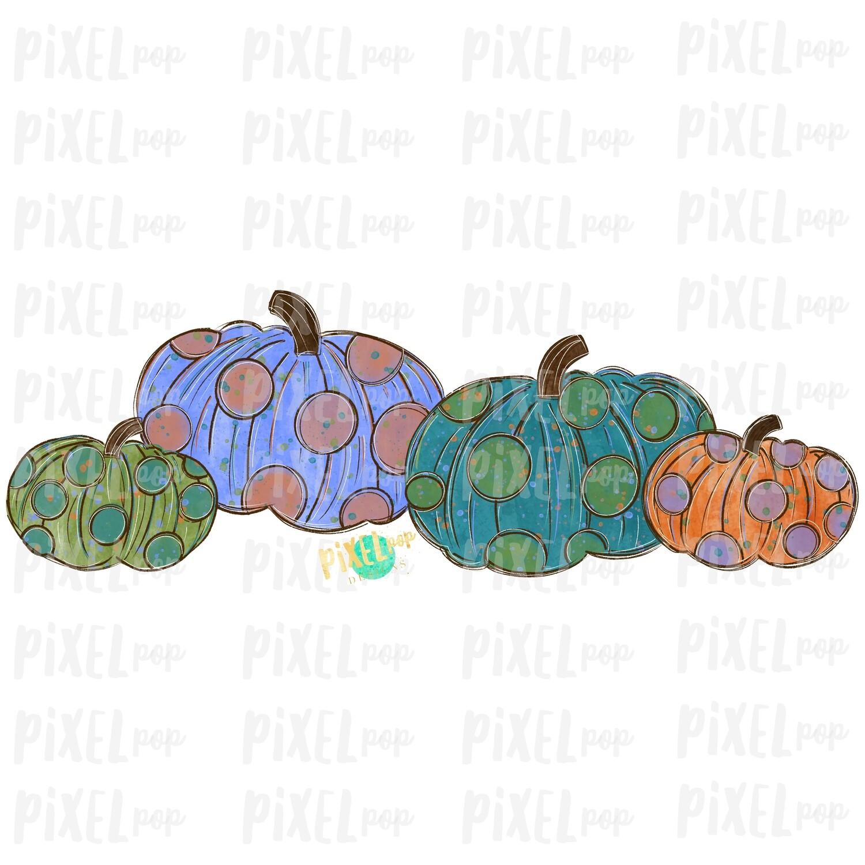 Polka Dot Pumpkins Art Sublimation PNG | Hand Drawn Sublimation Design | Sublimation | Digital Download | Printable Artwork | Art