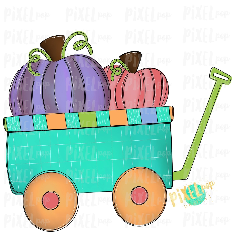 Pumpkins Wagon Cart Purple Pumpkin Patch Sublimation | Hand Drawn Sublimation Design | Sublimation PNG | Digital Download | Printable Artwork | Art