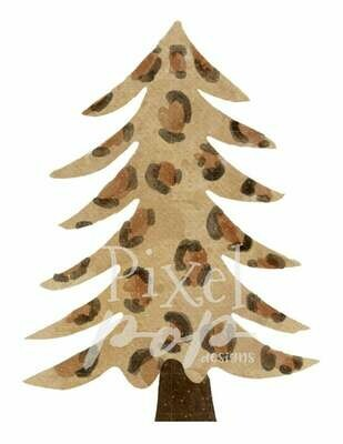 Leopard Cheetah Christmas Tree Watercolor Sublimation PNG | Hand Drawn Design | Sublimation PNG | Digital Download | Printable Artwork | Art