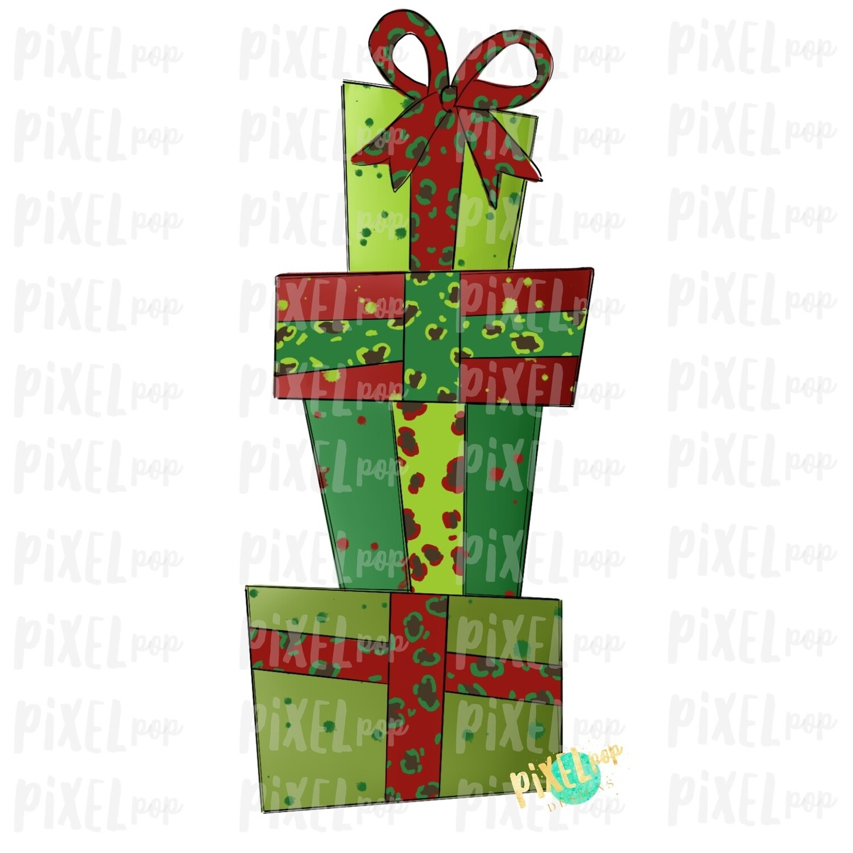 Christmas Presents Stacked Leopard Ribbon Sublimation PNG   Hand Drawn Design   Sublimation PNG   Digital Download   Printable Artwork   Art
