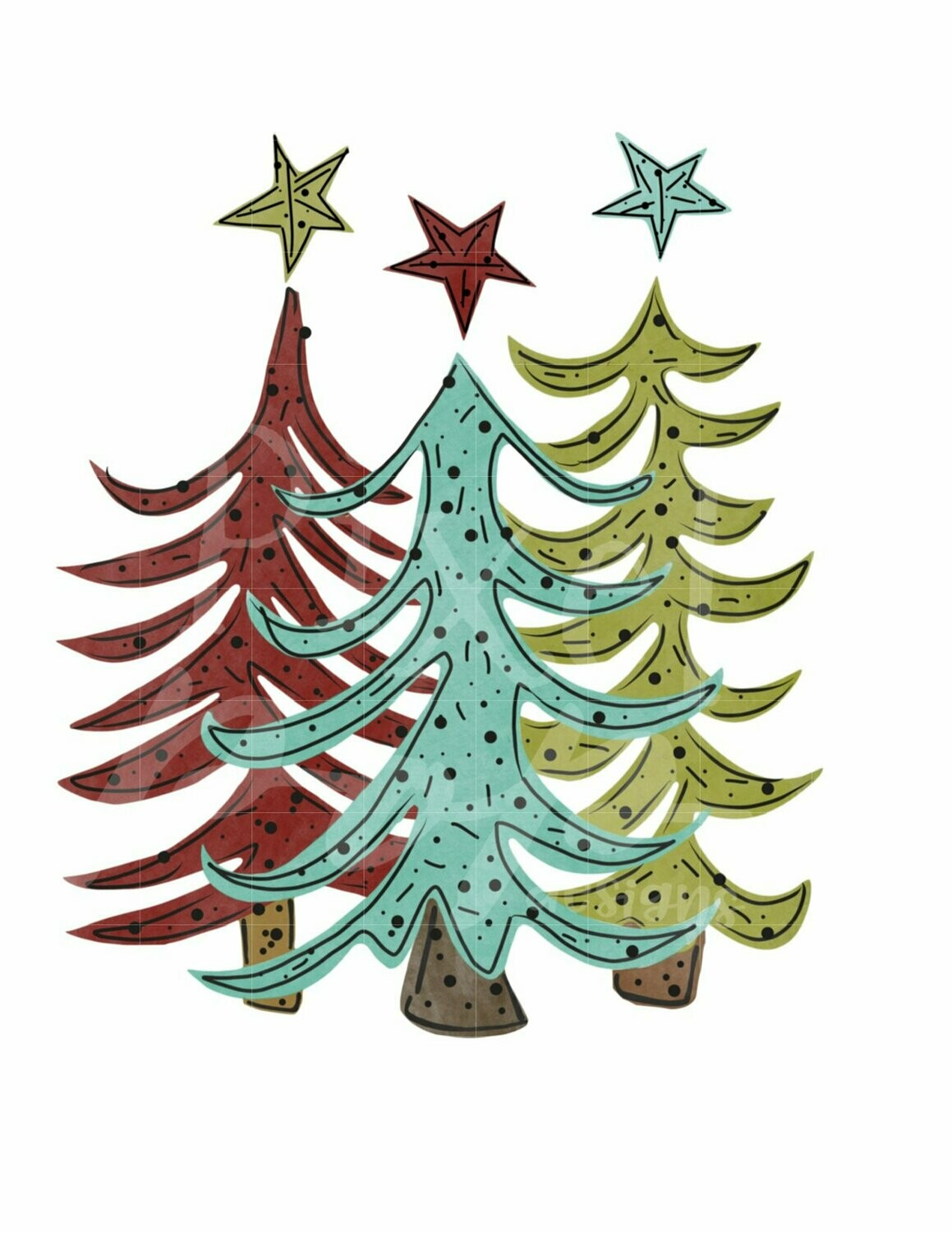 Funky Whimsical Christmas Trees Trio Watercolor Sublimation PNG   Hand Drawn Design   Sublimation PNG   Digital Download   Printable Artwork   Art
