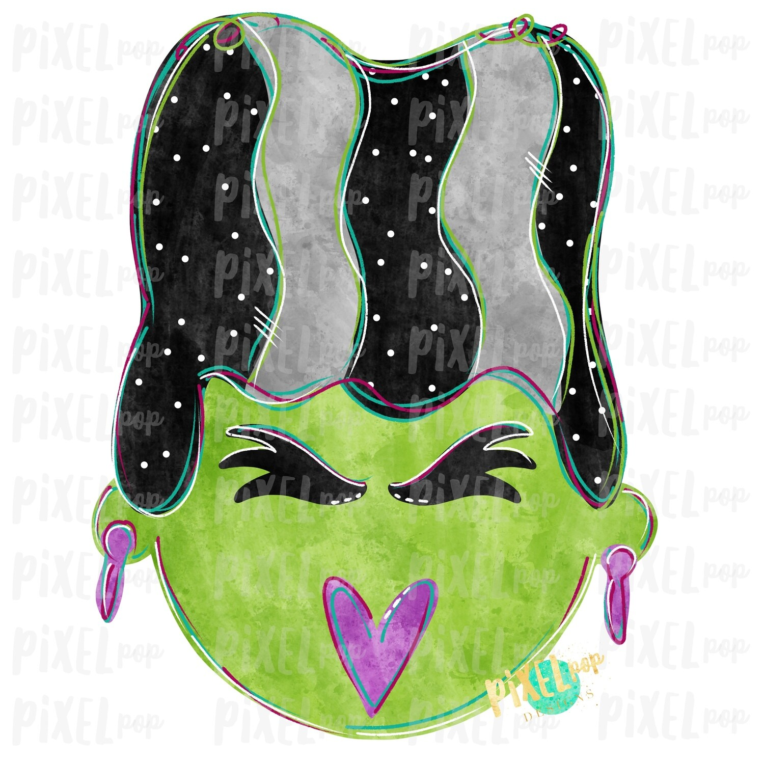 Bride of Frankenstein Digital Sublimation PNG | Hand Drawn Sublimation Design | Sublimation PNG | Digital Download | Printable Artwork | Art
