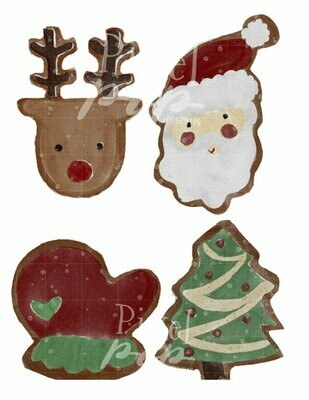 Watercolor Christmas Cookies Clip Art Sublimation PNG | Hand Drawn Design | Sublimation PNG | Digital Download | Printable Artwork | Art